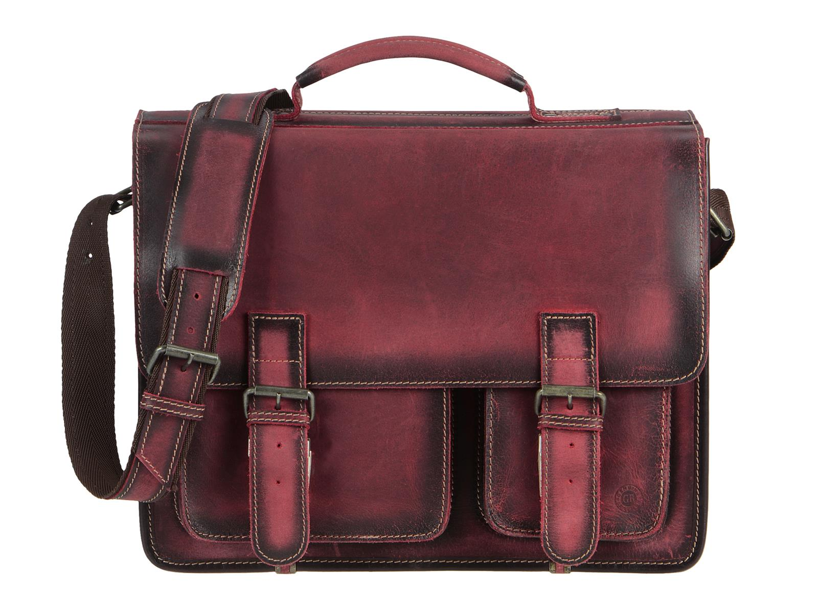Greenburry Lehrertasche Leder Aktentasche in rot (teak red) 1028B-26